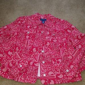 Charter Club red bandana print jean jacket L